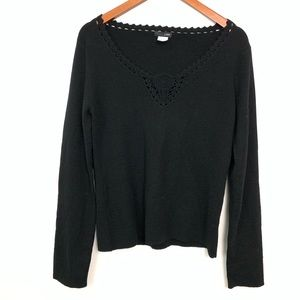 J. Crew | Merino Wool Black Long Sleeve Sweater L